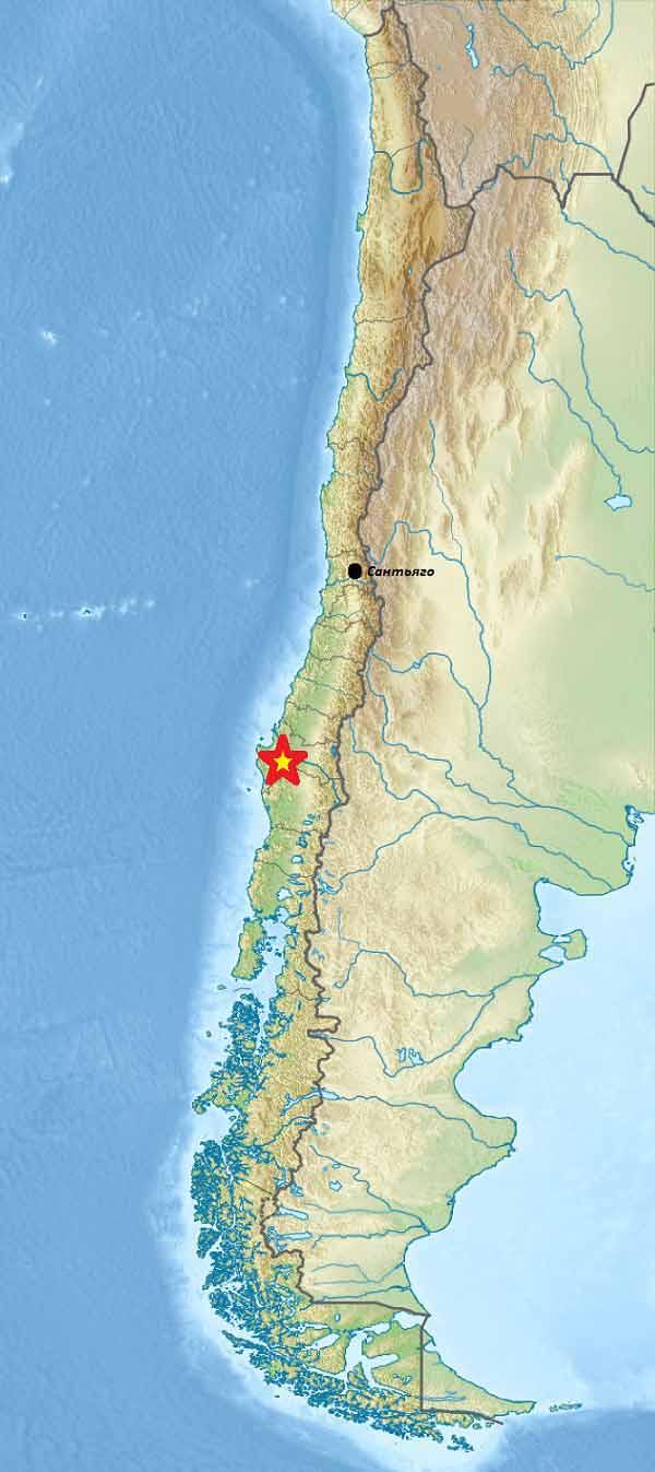 Схема расположения эпицентра (показан звёздочкой) Чилийского землетрясения 1960 года