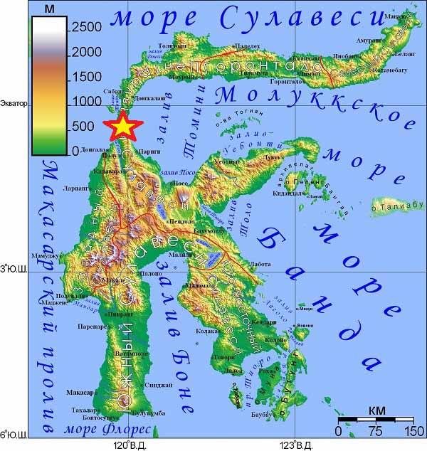 Остров Сулавеси (Восточная Индонезия). Звёздочкой обозначено землетрясение 2018.09.28